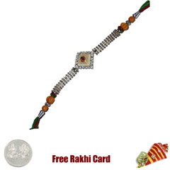 Om White Bracelet Rakhi with F..