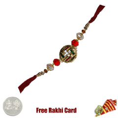 Metal Swastik Rakhi with Free ..