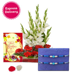 Rakhi with Rose basket  (6 Gla..