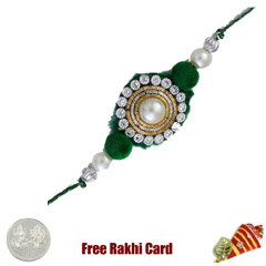 Green Diamond Zardosi Rakhi wi..