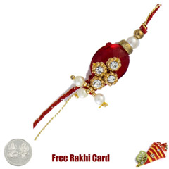 Red Diamond Rakhi with Free Si..