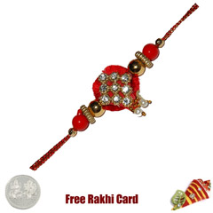 Yellow Diamond Zardosi Rakhi w..