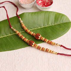 Golden Beaded Rudraksha Rakhis