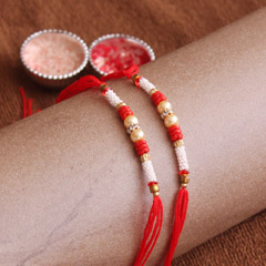 Red and White Beaded Rakhis