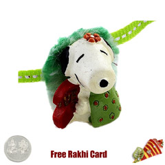 Snoopy Rakhi with a Free Silve..