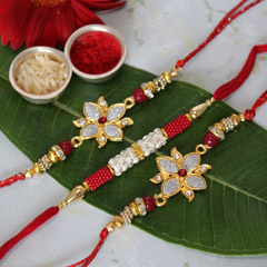 Red & Shiny Rakhi Set