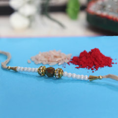 White & Golden Pearl Rakhi