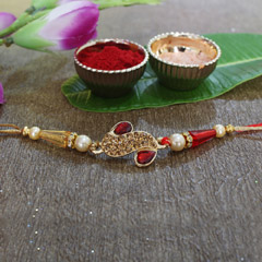 Dazzling Red & Golden Rakhi