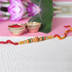 Colorful Beaded Om Rakhi