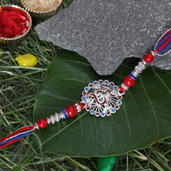 Blue - Red & Silver Om Rakhi