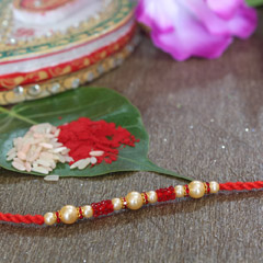Red Beaded Pearl Rakhi