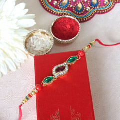 Red & Green Kundan Rakhi