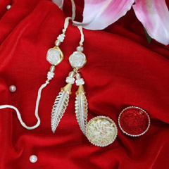 Wite and Golden Rakhi Pair