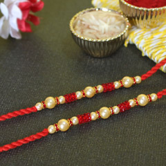 Red Beaded Pearl Rakhis