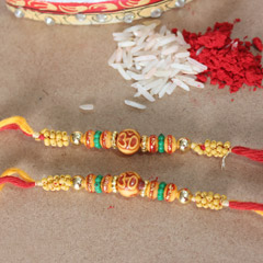 Colorful Beaded Om Rakhis