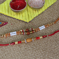 Impressive Beaded Rakhi Pair