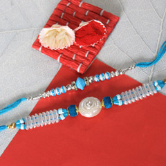 Blue and White Beaded Rakhis