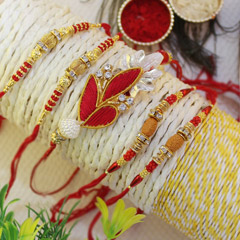 Golden & Red Rakhis for Brothe..