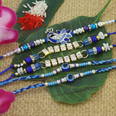 Blue & Silver Rakhi Set