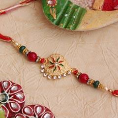 Eye-Catchy Golden Rakhi