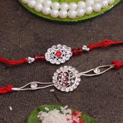 2 Stone Silver Rakhi set