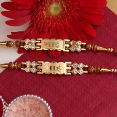 "Golden ""Bhai-Bhai"" Rakhi pair"