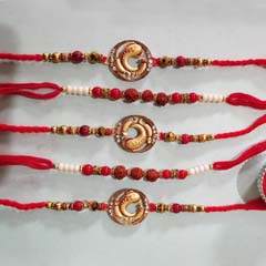 Pretty golden Rakhi set of 5