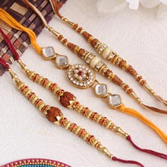 Set of 5 delightful Rakhis