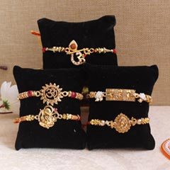 Beautiful golden Rakhi set of ..