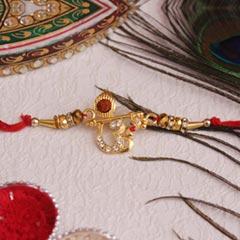 Golden Om & Rudraksha Rakhi