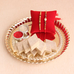 Rakhi Thali with Kaju Barfi