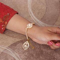 Stones Lumba Rakhi for Bhabhi