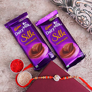 AD Stone Rakhi with Silk Choco..
