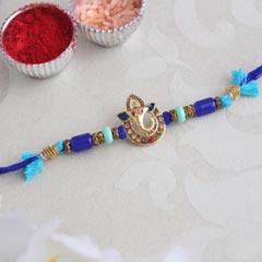 Blue Golden Ganesha Rakhi