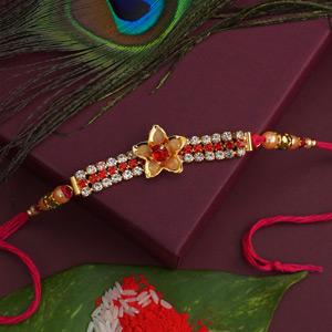 Floral Golden Designer Rakhi
