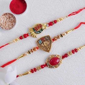 Rakhi Set of Three Golden Rakh..