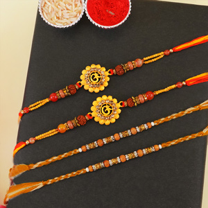 Two Golden Om and Two Beaded R..
