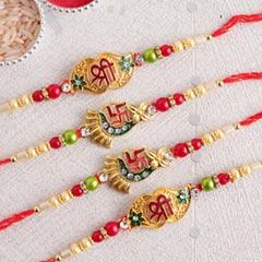 Divine Golden Rakhi Set of Fou..