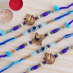 Auspicious Blue Rakhi Set of 5