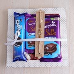 Golden Rakhi and Chocolates Ha..