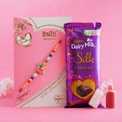 Golden Rakhi with Dairy Milk S..