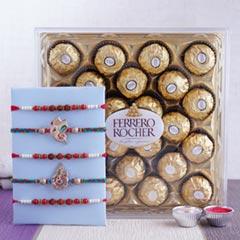 Five Rakhi Set with Ferrero Ro..