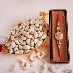 Golden Rakhi with Golden Tray ..