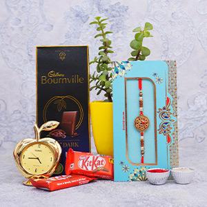 Golden Rakhi with Chocolate Wa..