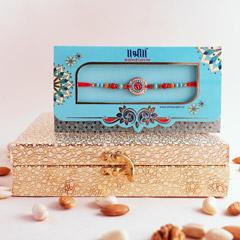 Silver Rakhi with Dryfruit Box