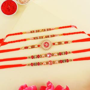 Set of Five Elegant Rakhis