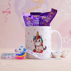 Unicorn Rakhi with Mug N Choco..