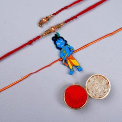 Diamond Rudraksha Rakhi Set