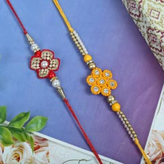 Red Yellow Zardosi Rakhi Set