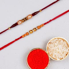 Red Cream Rakhi Set
